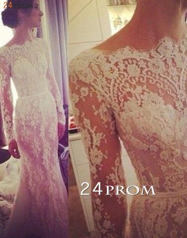 Custom Made A-line Long Sleeve Lace Wedding Dresses, Wedding Dress - 24prom