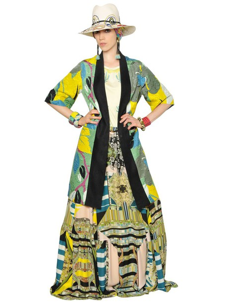 ETRO Printed Viscose & Cotton Jacquard Coat in green