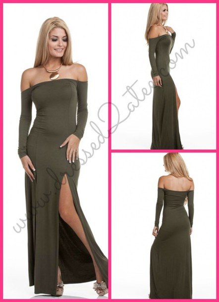 e2e875e9557b olivegreen maxi dress style long sleeve dress off the shoulder dress fall  outfits sexy sexy dress