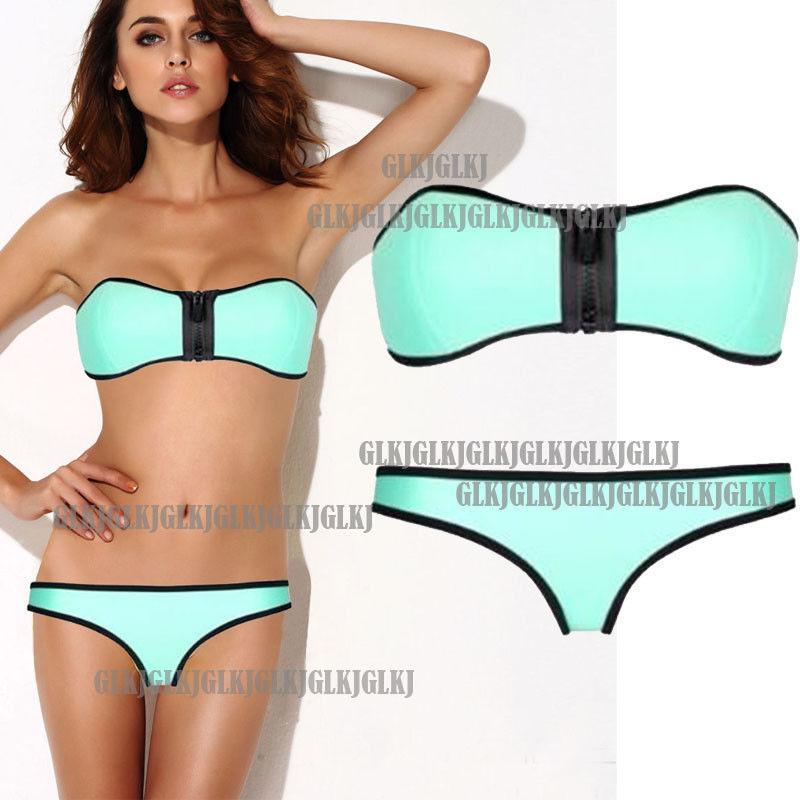 Sexy Women's Mint Push Up Padded Bikini Zipper Swimsuit Bathing Suit Swimwear | eBay