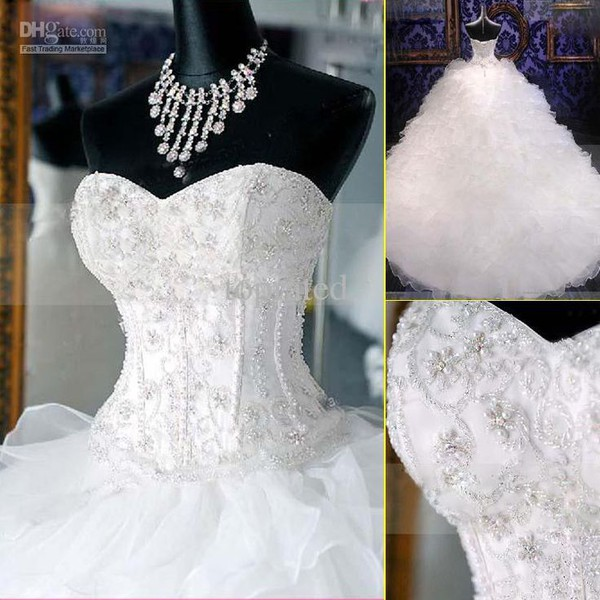 Lovelybride Noble Sweetheart Beaded Organza Wedding Dresses Bridal Gowns |  Amazon.com