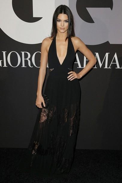 dress lace dress v neck dress kendall jenner grammys 2015 black gown kendal jenner dress