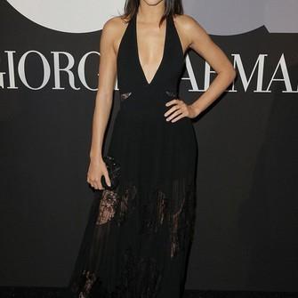 dress black lace dress gown v neck dress grammys 2015