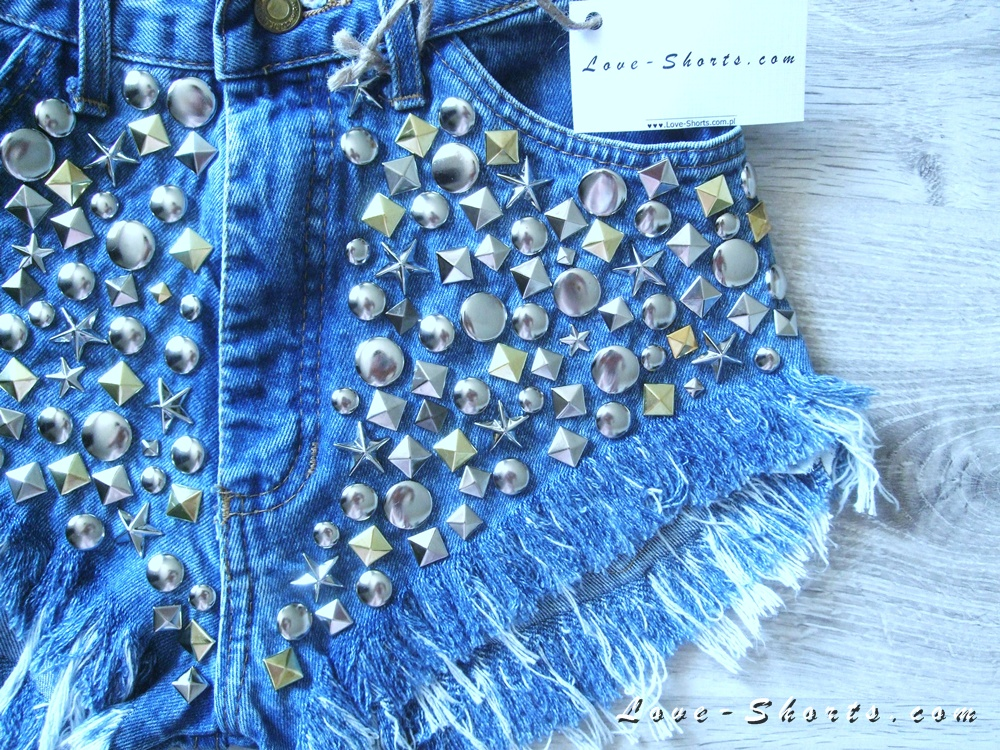 """glam rock"" high waisted frayed studded shorts"