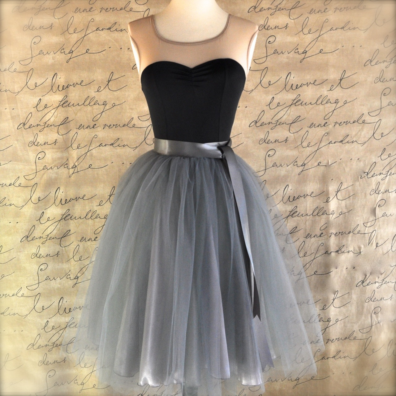 Tulle skirt for women in charcoal grey silver satin lining