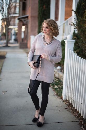 something delightful blogger sweater leggings jewels shoes bag winter outfits shoulder bag ballet flats