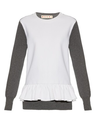 top knit long wool white grey