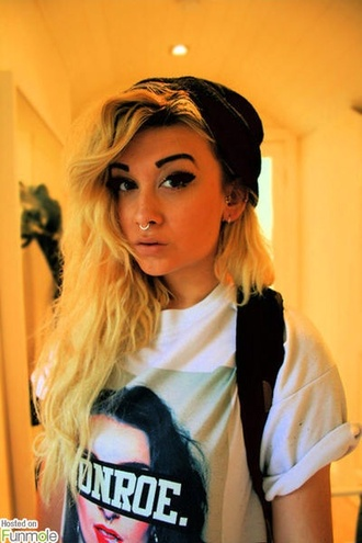 shirt nose ring piercing monroe hipster goth hipster boho soft grunge girly grunge skater beanie