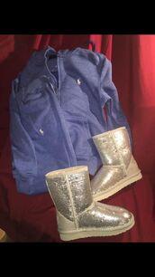 jumpsuit,ugg boots,polo sweater,polo sweat pants,ralph lauren polo,silver,blue,sweater,sweatpants,cute,high school