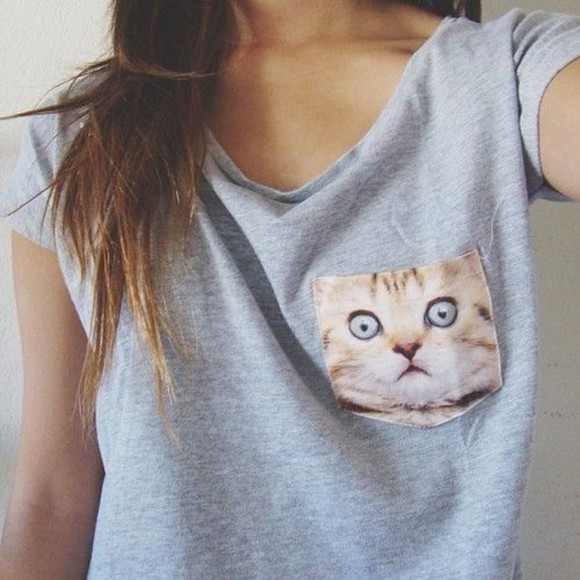 cat shirt cats pocket pocket t shirt t-shirt shirt grey t-shirt cute shirts cat print shirt cat shirts black cats