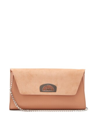 clutch leather suede nude bag