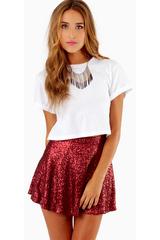 Sequin Skater Skirt in Red (Matte Burgundy) | Lyst