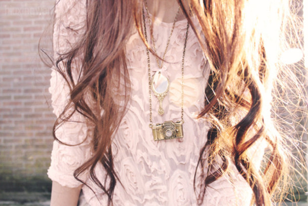 shirt clothes jewels camera mirror bronze cute necklace chain baby pink pink roses