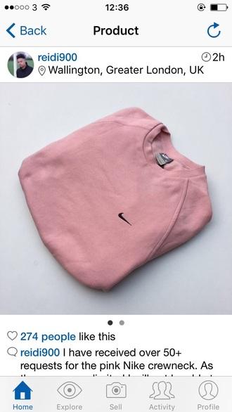 sweater pink nike vintage crewneck jumper