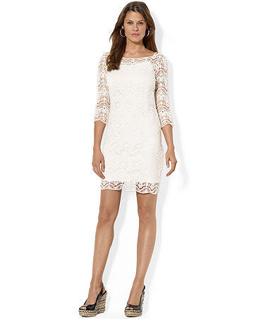 Lauren Ralph Lauren Petite Three-Quarter-Sleeve Lace Dress - Petite Dresses - Women - Macy's
