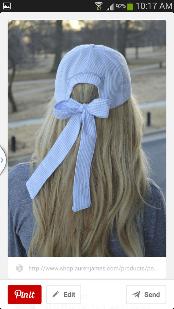 hat bow cap baseball cap ribbon bow ribbon ribbons fashion accessories stripes outfit summer blue white tie back