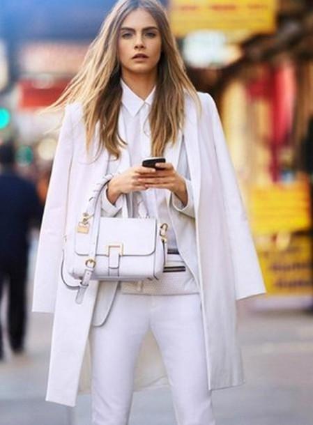 coat cara delevingne bag white jacket blouse pants white pants white blazer white button up shirt