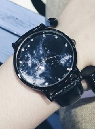 galaxy print watch fashion trendy cool navy beautifulhalo jewels