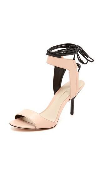 light sandals lace peach shoes