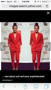 jacket,red sophisticated women's pants suit