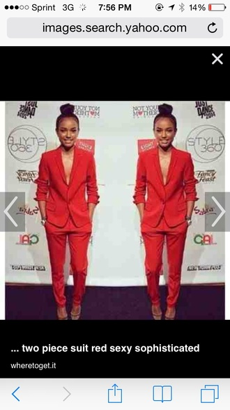 jacket red sophisticated women's pants suit