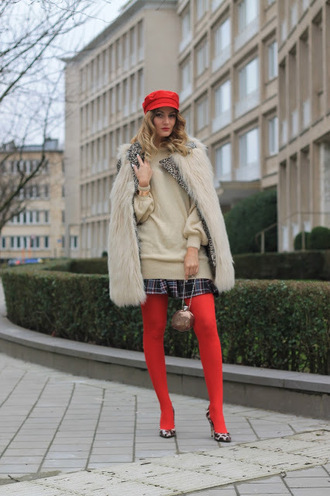from brussels with love blogger jacket coat sweater skirt tights shoes bag fisherman cap faux fur vest pumps winter outfits