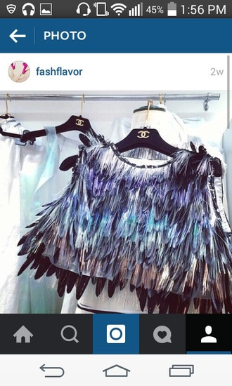 feathers top cute summer spring outfit beautiful style fashion colorful gorgeous chanel