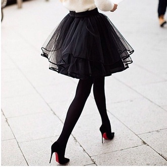 skirt fashion paris tulle skirt black