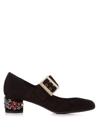 heel suede pumps embellished pumps suede black shoes