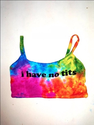 tank top crop tops rainbow tie dye shirt