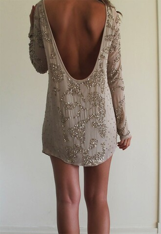 backless backless dress low back embellished embellished dress nude dress beige dress mini dress new year's eve birthday dress dress sequin dress party dress beaded dress long sleeves short dress low back dress long sleeved party dress bag taupe dress with sequins short