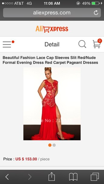 dress red beautiful fashion lace cap sleeves