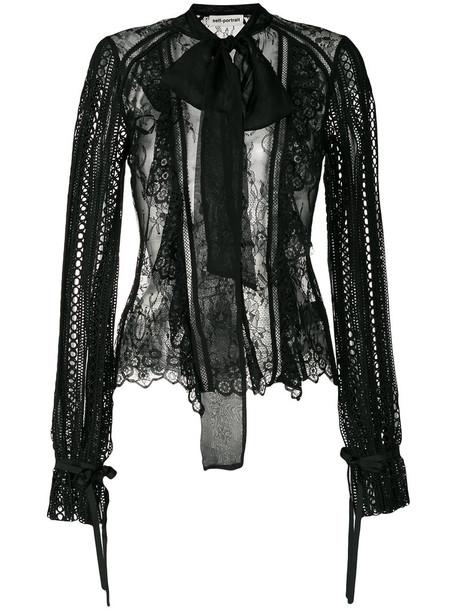 self-portrait blouse women lace black silk top