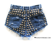 denim,high waisted,studded,shorts,blue shorts