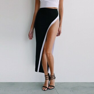 skirt slit skirt slit dress ootn date outfit outfit fashion inspo outfit inspo outfit idea heels heel black and white gojane
