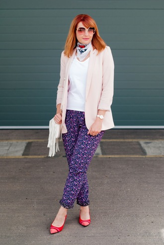 not dressed as lamb - over 40 fashion blog blogger jacket t-shirt pants scarf shoes bag jewels sunglasses pumps pink jacket blazer
