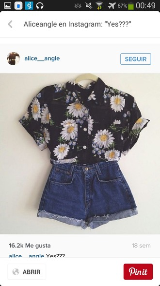 shirt flowers black white yellow summer ootd outfit summer outfits vintage hipster indie alternative boho festival chic chic