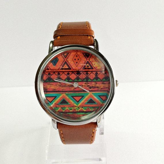 Aztec Watch, Vintage Style Leather Watch, Pastels, Women Watches, Unisex Watch, Boyfriend Watch, Tan