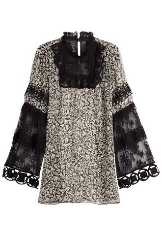 tunic lace silk black top