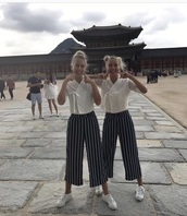 pants,black,white,stripes,lisaandlena,musically,outfit,fashion,ootd,shoes,nike,adidas,chanel,gucci,calvin