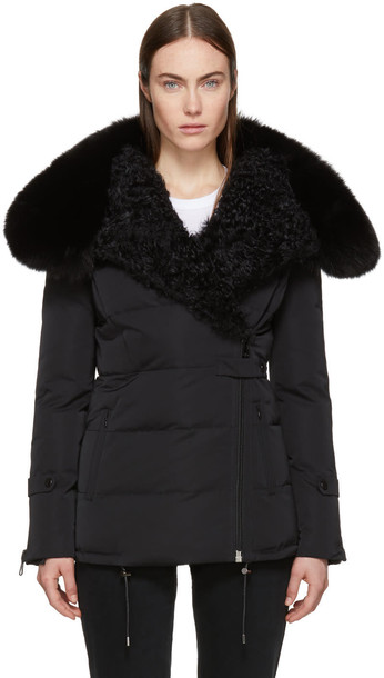 Yves Salomon jacket fur black satin