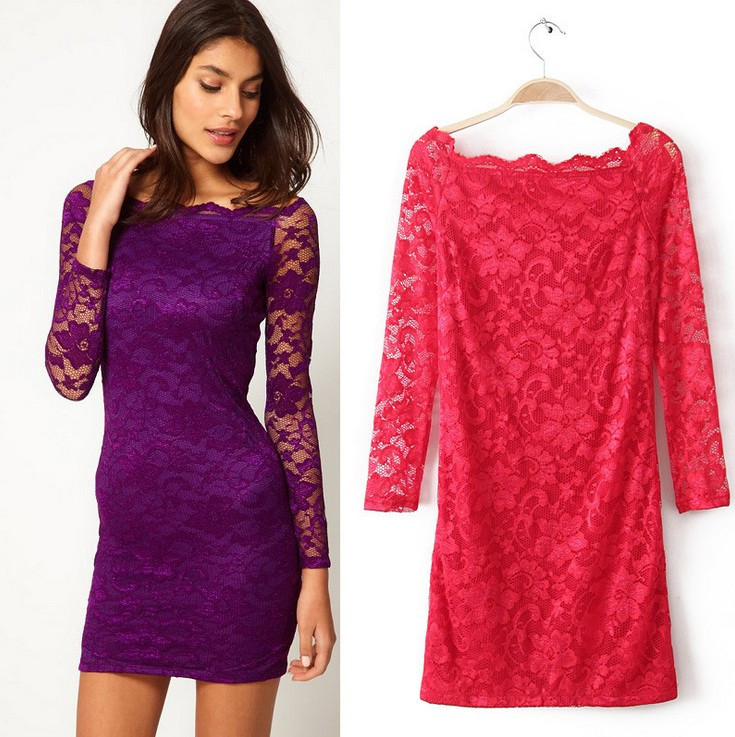 Free shipping 2013 new fashion Cute Sexy Lace Long sleeve Summer dress for Woman White black Color Lady dress Girl clothing-in Dresses from Apparel & Accessories on Aliexpress.com