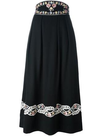 skirt flower skirt embroidered black