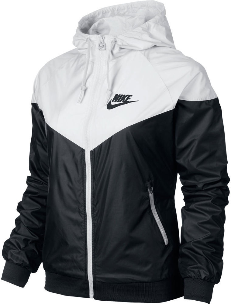 a2cc0ba0c7 Nike WindRunner Jacket Windbreaker Hoodie Black White Women ...