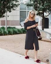 dress,tumblr,midi dress,off the shoulder,off the shoulder dress,stripes,striped dress,shoes,furry shoes,slide shoes,bag,sunglasses,belt
