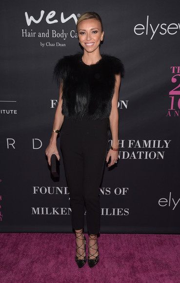 fur shoes top fall outfits Guiliana Rancic black