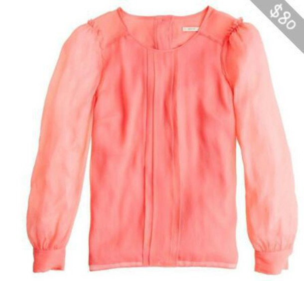 top long sleeves coral peach sheer j crew