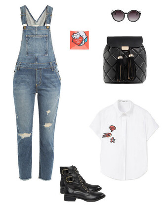 jumpsuit dungarees overalls denim overalls white white shirt patch black boots lace up boots backpack black backpack sunglasses