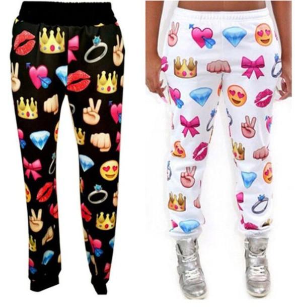 pants emoji print pink black purple yellow blue cute emoji pants sweatpants