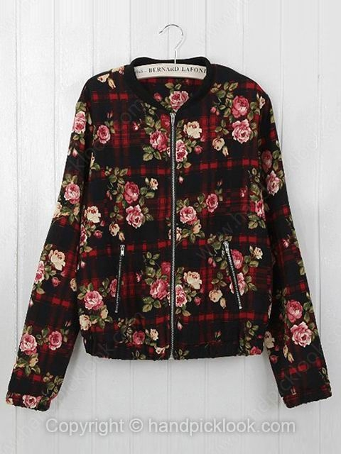 Black Stand Up Collar Long Sleeve Floral Print Coat - HandpickLook.com